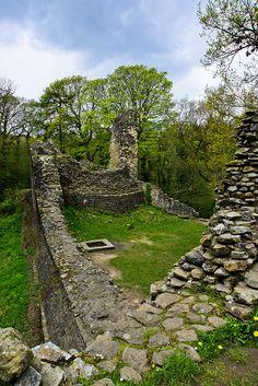 The castle walls of Ewloe Castle in Flintshire, Wales