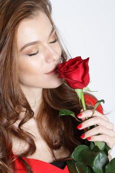 red rose beautiful woman