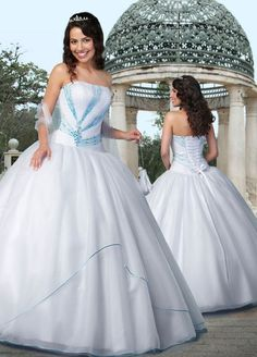 White Sweet 16 Dress Beaded In Turquoise Sequins