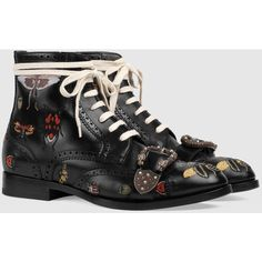 Gucci Queercore Embroidered Brogue Boot ($1,980) ❤ liked on Polyvore featuring men's fashion, men's shoes, men's boots, mens leather buckle boots, mens black shoes, mens side zip boots, mens leather boots and mens leather sole boots