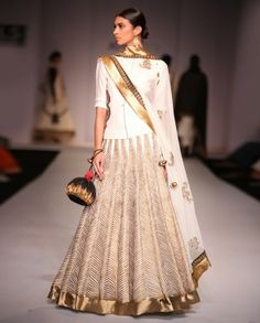 Joy Mitra Ivory & Gold Lengha Set. <3