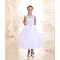 Sheer Shoulder White First Communion Dress