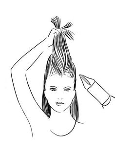 Continue this process until all your hair is dry. Now gather the strands above your ears and pull them toward the ceiling. Heat the roots for about 10 seconds, then hold hair in place until it's cool.