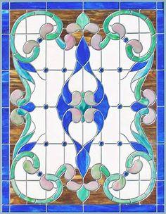 """Vitrail de fenêtre de style victorien """"Vict97P"""", Glass by Design.com"""