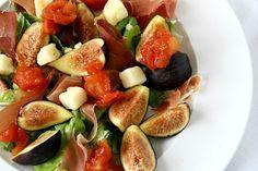 Fig salad, ham and tomato jam