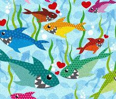 Sharks in love.                                                                                                                                                                                                          Tara Tominaga | Art | Photography | Patterns www.taramtominaga.com