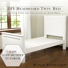 diy bed frame Build a DIY Beadboard Twin Bed from Build Basic Finish Shot # gardenia # . Diy Twin Bed Frame, Bed Frame Plans, Bed Frame With Storage, Twin Headboard, Bed Plans, Bed Storage, Bedding Storage, Headboards, Childrens Twin Beds