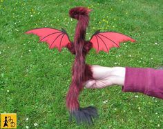 dragon posable doll red black wings ceramic eyes fantasy pet miniature faux fur…