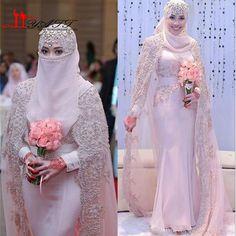 New Muslim Arabic Mermaid Chiffon Wedding Dresses High Neck Long Bridal Gowns With Sash Beaded Crystal