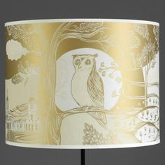 owl gold lampshade - large by lush designs