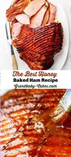 This tender, moist and perfectly sweet Honey Baked Ham recipe is cooked in its own juices and glazed with a mixture of honey, pineapple juice and brown sugar. PLUS Check out my Slow Cooker Instructions too! Honey Ham Recipe, Honey Baked Ham Glaze, Sweet Ham Recipe, Easy Cooking, Cooking Recipes, Kitchen Recipes, Cooking Tips, Baking With Honey, Honey