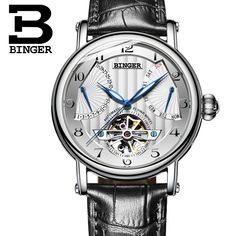 (100.98$)  Watch here - http://aiiaj.worlditems.win/all/product.php?id=32801083108 - Switzerland watches men luxury brand BINGER business sapphire Water Resistant leather strap Mechanical Wristwatches B-1172