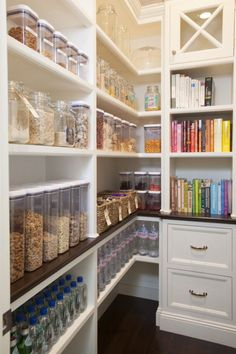 Putting the recipe books in the pantry and all matching labeled glassware is super nice and organized looking.
