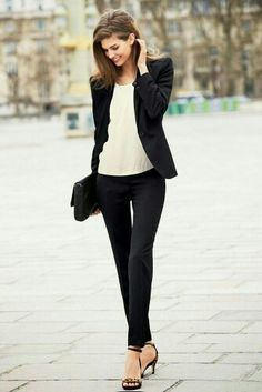 black and white female #outfit - #fashion