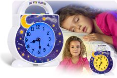 My Tot Clock changes colors to teach little ones when to sleep (blue light) & when it's okay to wake-up (yellow light). Plays bedtime stories, lullabies, fun wake-up music, & even white noise! Makes a great night light with 5 levels of illumination. Built-in Discipline Timer (red light) when a little time-out is needed. Built-in Toddler Activity Manager (green light) for any positive timed activity like potty training and picking up toys. Has changeable faceplates to match bedroom themes.