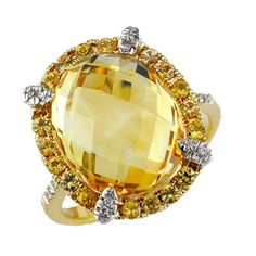 ct Ladies Diamond, Yellow Sapphire & Citrine Ring in Yellow Gold, Size 7 - Rellek Jewelry Natural Sapphire Rings, Yellow Sapphire Rings, Sapphire Jewelry, I Love Jewelry, Fine Jewelry, Jewelry Design, Jewelry Box, Citrine Ring, Fantasy Jewelry