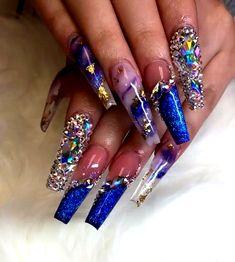 Long Nail Designs, Acrylic Nail Designs, Nail Art Designs, Nails Design, Blue Acrylic Nails, Summer Acrylic Nails, Glitter Nail Art, Perfect Nails, Gorgeous Nails