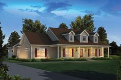 House Plan 95972 | Colonial Country Ranch Plan with 2392 Sq. Ft., 4 Bedrooms, 3 Bathrooms, 2 Car Garage