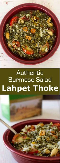 Lahpet thoke is a delicious traditional Burmese salad prepared with fermented tea leaves that features a unique earthy and tangy flavor.