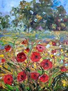 Painting original oil Provence France Poppy Flowers Landscape palette knife on canvas fine art impressionism by Karen Tarlton. $265,00, via Etsy.