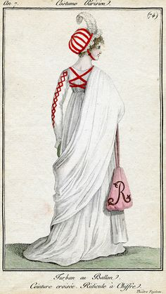 1802 Costume Parisien    I'd love to make a plain, gauzy white dress with the red X on the back