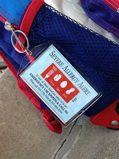 EpiPen Inside 2-sided Allergy Alert Acrylic Bag tag 2 by PennyBox