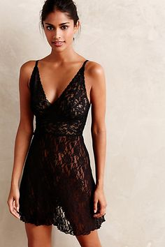 Hanky Panky Lace Plunge Chemise - anthropologie.com