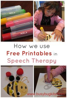 Using free printables with preschoolers! Therapy for speech or language.