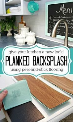 Genius idea for giving your kitchen an entirely new look using peel-and-stick flooring to DIY a backsplash.