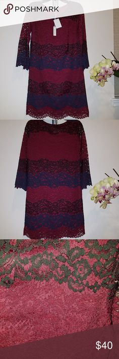 Max studio burgundy lace dress from Nordstrom Beautiful lace , very unique style , comfortable.  Size is XS but fit more like S or M , so i listed as M. Please take note. Max Studio Dresses Long Sleeve