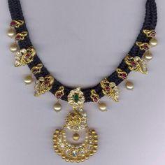 Jewellery Designs: 35 Grams Peacock Black Beads Set