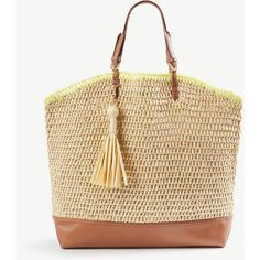 Ann Taylor Straw Carryall Tote ($98) ❤ liked on Polyvore featuring bags, handbags, tote bags, natural, straw tote bags, straw tote handbags, straw purse, brown tote bags and woven straw handbags
