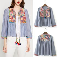 Hippie Ethnic Colorful Floral Embroidery Stripe Blouse Pompom Cardigan Jacket #Unbranded #BasicCoat