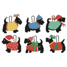 Amazon.com: Craftways Scottie Dogs Ornaments Counted Cross-Stitch Kit: Arts, Crafts & Sewing