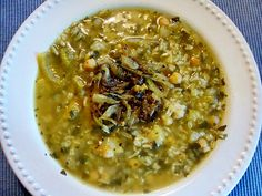 Persian Yellow Plum Soup, a delicious tart-savory soup full of fresh herbs, rice, chickpeas. (The topping is browned onions with garlic, turmeric and mint.) This is the vegetarian variation of the recipe in a large, gorgeous book on Persian food and culture, Food of Life; Ancient and Modern Iranian Cooking and Cermonies