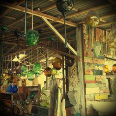 Recycled glass & timber art & furniture in Kerobokan.