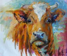"""2015 Koe 1 Olie op doek 40 x*50 cm Serie """"Een heel jaar koeien"""""""