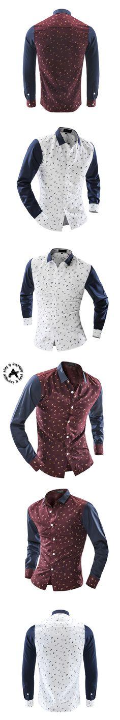 2016 New Casual Men'S Clothing Office Herren Hemden Slim Fit Shirt Fashion Floral Shirts Men Solids Camisa Hombre