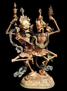 Carved bone (most likely human) figure of the Glorious Lords of the Charnel Grounds, Mother and Father, Mongolia. Shri Shmashana Adhipati (1800-1830)