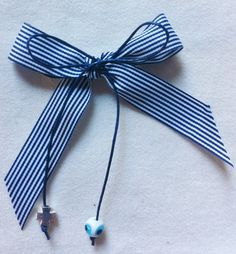 "Blue Bow Style Martirika with a ""Mataki"", $38.50 at the Greek Wedding Shop ~ http://www.greekweddingshop.com/"