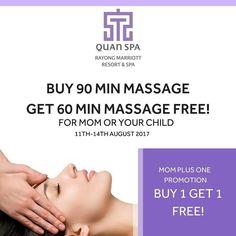 BUY 1 GET 1 FREE! เพยงจอง 90 นาท ทรตเมนตใดกไดในราคาปกต เลอกรบฟรทนท 60 นาททรตเมนต มอบใหคณแมหรอคณลกทมาดวย . เลอกรบฟร 1 ทรตเมนต - Foot Reflex Massage - Thai Massage - Children Massage . ตงแต 11-14 สงหาคมน สอบถามรายละเอยดเพมเตม โทร: 038-998-050 (ควอนสปา)