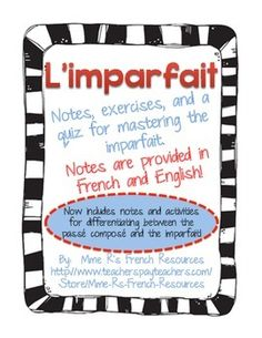 This NO PREP 12 page resources pack includes notes in French and English and a variety of exercises for the imparfait / pass compose.Includes regular and irregular verbs.Includes:* 1 identify the tense activity (Is it present or imparfait?)* 3 fill in the blank activities (verbs provided for each sentence)* 40 verbs to change from present to imparfait* 2 notes pages (one in English and one in French)* 1 large practice chart with many verbs to conjugate* 1 quiz* Notes for using the pass ...