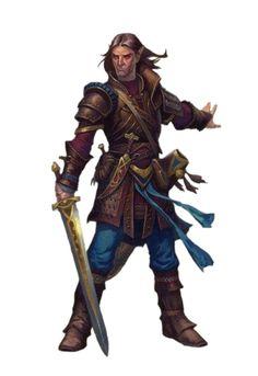 Male Half-Elf Fighter Rogue - Pathfinder PFRPG DND D&D 3.5 5th ed d20 fantasy