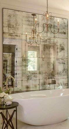 Sometimes an artfully faded mirror is all that is necessary to create a vintage Italian feeling at home. 10 Fabulous Mirror Ideas to Inspire Luxury Bathroom Designs ?To see more Luxury Bathroom ideas Bathroom Design Luxury, Bathroom Designs, Luxury Bathrooms, White Bathrooms, Country Bathrooms, Mirrors In Bathrooms, Bathrooms With Chandeliers, Bathrooms 2017, Bathtub Designs