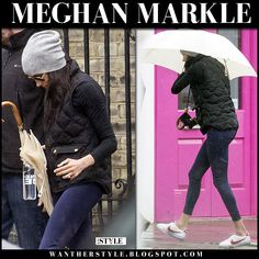 Meghan Markle in black quilted gilet and white sneakers