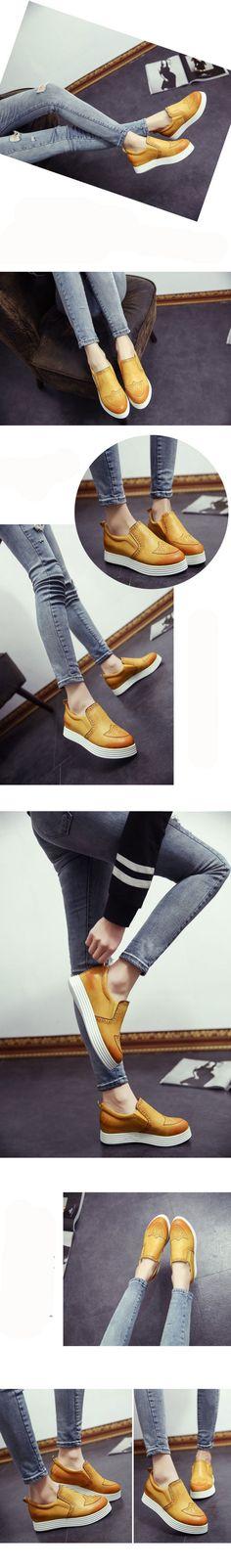 2015 nova moda das mulheres oxford Shoes deslizamento vintage em boi creepers…