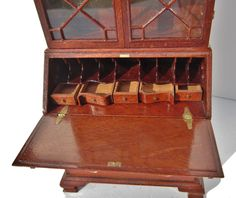 John Hodgson, IGMA fellow - Chippendale drop leaf secretary bookcase; close up of inside when leaf is extended.