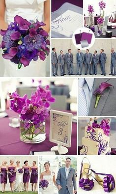 You will see the mans gray suit with a simple purple calla lily flower and you will see the bride has all purple with a few orchids in the bouquet