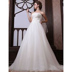 A-line Strapless Chapel Train Tulle Satin Wedding Dress With Veil – USD $ 599.99