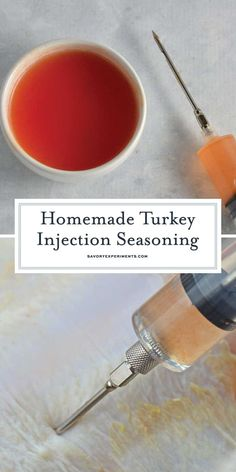 Homemade Turkey Injection Seasoning + VIDEO (Better than anything store bought!) - This Homemade Turkey Injection Seasoning is super easy, taking only 5 minutes for a flavorful and sweet bird just like the Cajun injector from the store! Fried Turkey Injection Recipe, Turkey Injection Marinade, Turkey Marinade, Cajun Seasoning Recipe, Turkey Seasoning, Turkey Injector Recipe, Cajun Turkey, Smoked Turkey